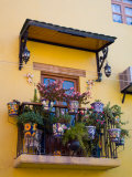 Decorative Pots on Window Balcony, Guanajuato, Mexico Photographic Print by Julie Eggers