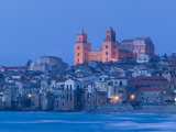 View with Duomo from Beach, Cefalu, Sicily, Italy Photographic Print by Walter Bibikow