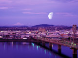 Moon Over the City with Mt Hood in the Background, Portland, Oregon, USA Fotografisk tryk af Janis Miglavs