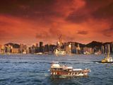 Hong Kong Harbor at Sunset, Hong Kong, China Photographic Print by Bill Bachmann