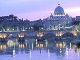 St. Peter's and Ponte Sant Angelo, The Vatican, Rome, Italy Reprodukcja zdjęcia autor Walter Bibikow
