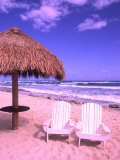 Beach Chairs, Cozumel, Mexico Photographic Print by Bill Bachmann