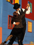Tango Dancers on Calle Caminito, La Boca District, Buenos Aires, Argentina Lmina fotogrfica por Sergio Pitamitz
