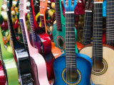 Toy Guitars, Olvera Street Market, El Pueblo de Los Angeles, Los Angeles, California, USA Photographic Print by Walter Bibikow