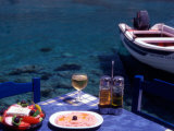 Seaside Table with Salad, Taramosalata, and Glass of Retsina Wine, Loutro, South Crete, Greece Photographic Print by Steve Outram