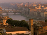 Ponte Vecchio Bridge, Arno River, Piazza Michelangelo, Florence, Tuscany, Italy Photographic Print by Walter Bibikow