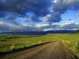 Gravel Road in the National Bison Range, Mission Mountains, Montana, USA Stampa fotografica di Chuck Haney