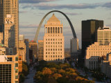 Downtown and Gateway Arch from the West at Sunset, St. Louis, Missouri, USA Photographic Print by Walter Bibikow