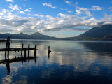 Morning on Lake Atitlan with Toliman Volcano, Panajachel, Solola, Western Highlands, Guatemala Fotografisk tryk af Cindy Miller Hopkins