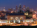 Union Station (b.1914) and Kansas City Skyline, Missouri, USA Photographic Print by Walter Bibikow