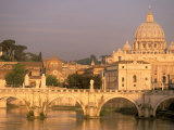 Basilica San Pietro and Ponte Sant Angelo, The Vatican, Rome, Italy Photographic Print by Walter Bibikow