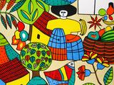 Detail of Llort Painting, Fernando Llort Gallery, San Salvador, El Salvador Fotografie-Druck von Cindy Miller Hopkins
