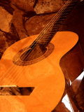 Double Exposure of Guitar and Rocks Photographic Print by Janell Davidson