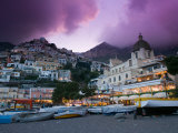 Santa Maria Assunta Church, Spiaggia Grande at Sunset, Positano, Amalfi Coast, Campania, Italy Photographic Print by Walter Bibikow