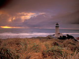 North Head Lighthouse at Sunset, Fort Canby State Park, Washington, USA Photographic Print by Brent Bergherm