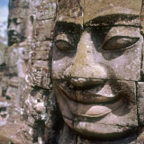 Carved Face on the Bayon Temple at Angkor Thom, Angkor Wat, Siem Reap, Cambodia Photographie par Igal Judisman