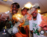 Kevin Garnett, Ray Allen, & Paul Pierce with the 2007-08 NBA Champion trophy Photo