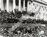 President Abraham Lincoln gives inaugural speech during second inauguration on March 4th 1865 Photo