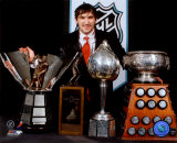 Alexander Ovechkin with 2008 Hart Trophy, Pearson Award, Ross Trophy & the Rocket Trophy Photo