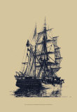 Antique Ship in Blue I Prints by  Mersky