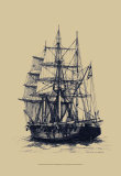 Antique Ship in Blue II Posters by  Mersky