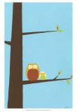 Treetop Owls I Poster van Erica J. Vess