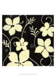 Black with Cream Flowers Prints by Norman Wyatt Jr.