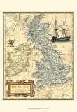 Karte der Britischen Inseln Kunstdrucke