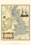 Karta över de brittiska öarna, engelska Affischer