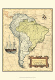 South America Map Prints