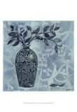 Ornate Vase with Indigo Leaves II Prints by Norman Wyatt Jr.