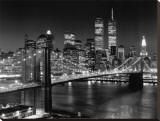 Puente de Brooklyn, Nueva York Reproducción en lienzo de la lámina por Henri Silberman