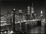 New York, New York, Brooklyn Bridge Framed Canvas Print by Henri Silberman