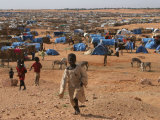 Children Play in the North Darfur Refugee Camp of El Sallam on Wednesday October 4, 2006 Photographic Print by Alfred De Montesquiou