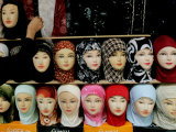 Arab Woman Buys an Islamic Head Dress in Preparation for the Muslim Holy Fasting Month of Ramadan Photographic Print