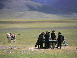 Tibetan Men Play Pool Photographic Print