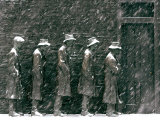 Snow Falls and Accumulates Atop George Segal's Depression Bread Line Sculpture Photographic Print