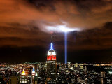 """Tribute in Light"" Illuminates the Sky Over Manhattan Photographic Print"
