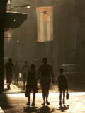 A Mother Walks Her Children to School in Old Havana, Cuba Photographic Print