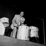1950s Jazz Performers, Lionel Hampton, Band Leader at the Empress Hall in London Lámina fotográfica