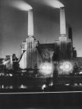 Coal Ships Unload at Battersea Power Station, July 1950 Photographie
