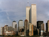 New York Skyline with World Trade Centre Building USA, 1997 Papier Photo