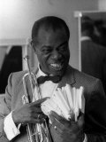 Louis Armstrong Jazz Musician, During His First Concert in Great Britain, May 1956 Photographie