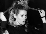 Ursula Andress Pulling at Hair 1966, During Stage Rehearsals Photographie