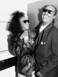 Whitney Houston and Stevie Wonder American Singers Back Stage at the Nelson Mandela Birthday Concer Fotografisk tryk