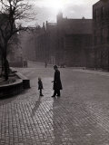 Policeman Talking to Lost Child on a Cobbled Street in Edinburgh, Scotland Photographic Print