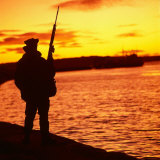 Falklands War 1982 a British Soldier Standing Guard at Sunset Photographic Print