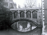 Bridge of Sighs, St. Johns College, Crossing the River Cam in Cambridge, March 1974 Photographic Print