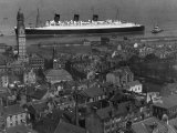 Queen Mary Ship Sailing Past Greenock in 1936 Photographic Print