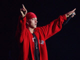 Eminem on Stage at the Gig on the Green Festival in Glasgow Green, August 2001 Fotografisk tryk